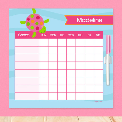Swimming Pink Turtle Chore Schedule