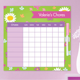 Field Of Flowers Green Kids Chore Charts