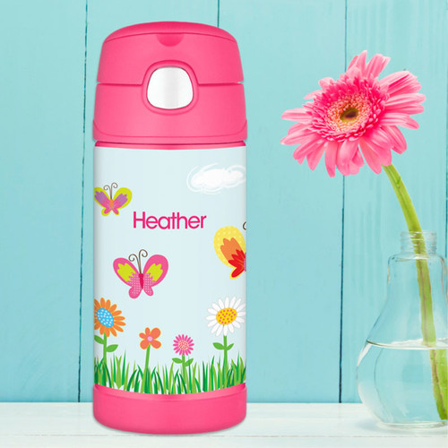 A Butterfly Field Personalized Thermos