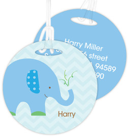 Blue Baby Elephant Luggage Tags For Kids
