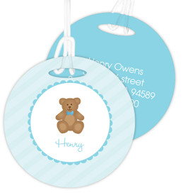 Cute Blue Teddy Bear Kids Luggage Tags