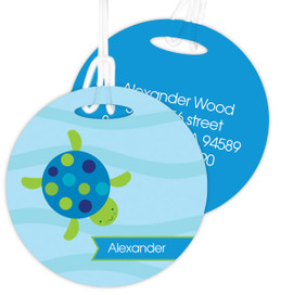 Swimming Blue Turtle Luggage Tags For Kids