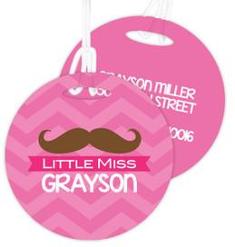 Little Miss Mustach Kids Bag Tags