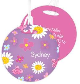 Field Of Flowers Purple Luggage Tags For Kids