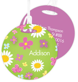 Field Of Flowers Green Kids Bag Tags