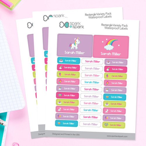Princess And Rainbows Labels Rectangular Pack