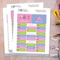Girl Camping Labels Rectangular Pack