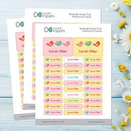 Sweet Little Birds Labels Rectangular Pack (Set of 128)