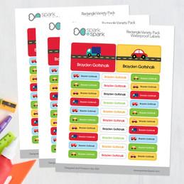 Cute Cars & Trucks Labels Rectangular Pack (Set of 128)