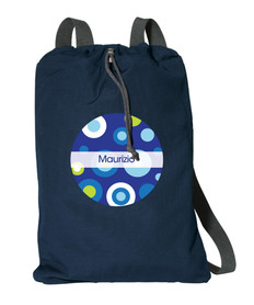 Circles And Circles Blue Personalized Kids Bags