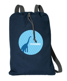 Dino And Me Blue Personalized Drawstring Bags