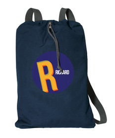 Double Initial Blue Personalized Drawstring Bags