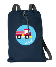 Cool Firetruck Personalized Cinch Bags