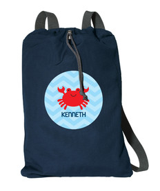 Happy Crab Personalized Drawstring Bags