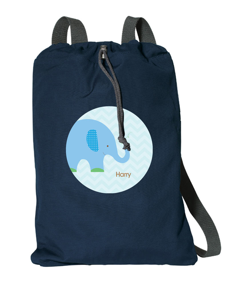 785703e02b Blue Baby Elephant Personalized Cinch Bags By Spark   Spark