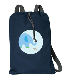 Blue Baby Elephant Personalized Cinch Bags