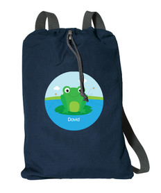 Cute Smiley Frog Personalized Drawstring Bags