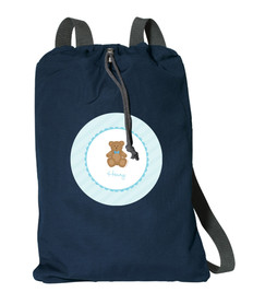Cute Blue Teddy Bear Personalized Cinch Bags