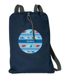 Dinosaur Trails Personalized Drawstring Bags