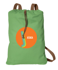 Double Initial Orange personalized cinch bags