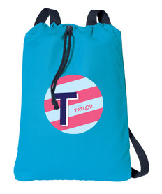 Double Initial and stripes Blue personalized drawstring bags