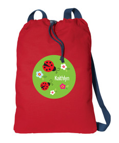 Curious Lady Bug personalized drawstring bags