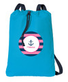 Let's Sail Pink personalized drawstring bags