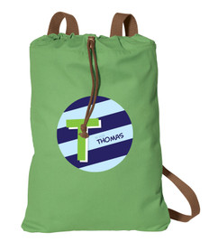 Brilliant Initial Blue Personalized Drawstring Bags