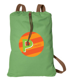 Brilliant Initial Orange Personalized Cinch Bags