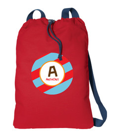 Fun Initials Red Personalized Bags For Kids