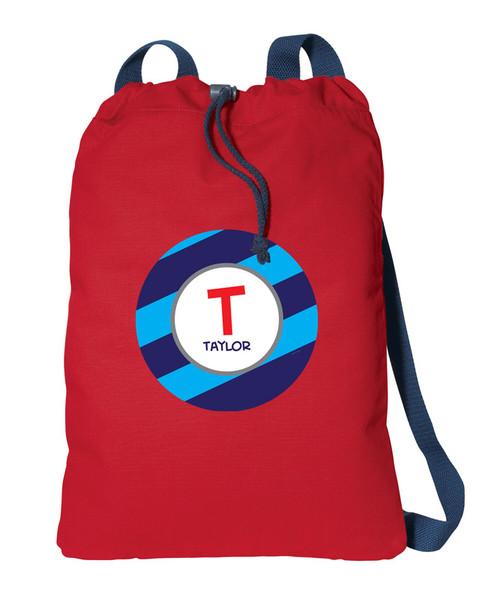 Fun Initials Blue Personalized Cinch Bags