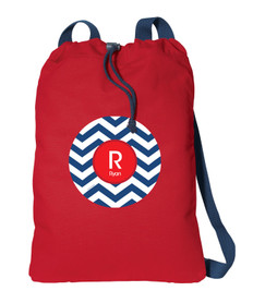 Navy And Red Chevron Personalized Bags For Kids