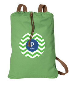 Green And Blue Chevron Personalized Cinch Bags