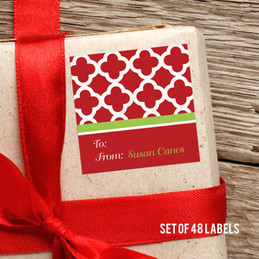 Elegance In Red Quatrefoil Gift Label