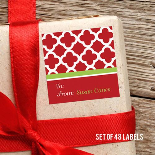 Elegance In Red Quatrefoil Gift Label