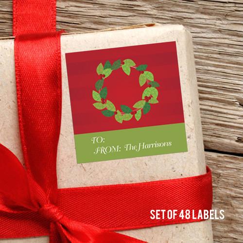 A Modern Wreath Gift Label