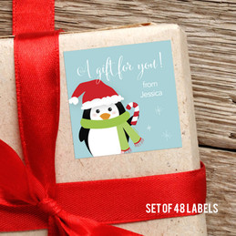 Hello From Mr. Penguin Gift Label
