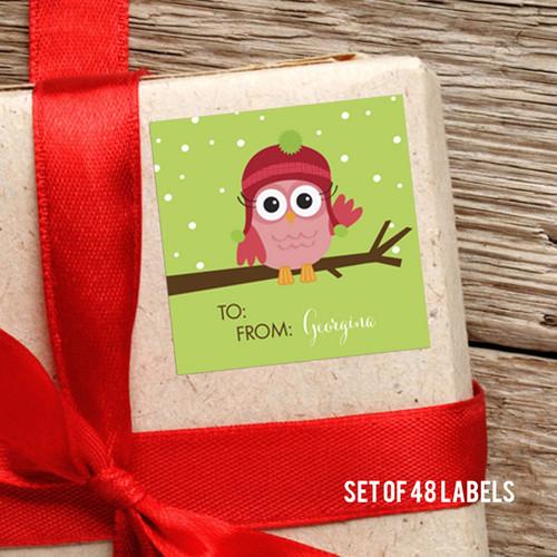 Xmas Baby Pink Owl Gift Label
