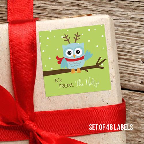 Xmas Baby Blue Owl Gift Label