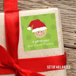Santa's Hat-Blonde Boy Gift Label