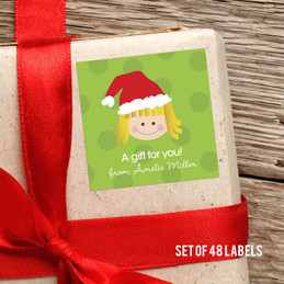 Santa's Hat-Blonde Girl Gift Label