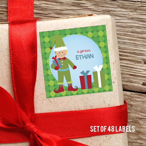 Cute Elf-Boy-Blonde Gift Label
