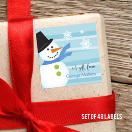 Blue Mr.Snowman  Gift Label