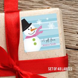 Pink Mr.Snowman Gift Label