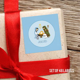 Nativity Set On Blue Gift Label