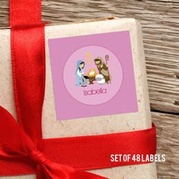 Nativity Set On Pink Gift Label