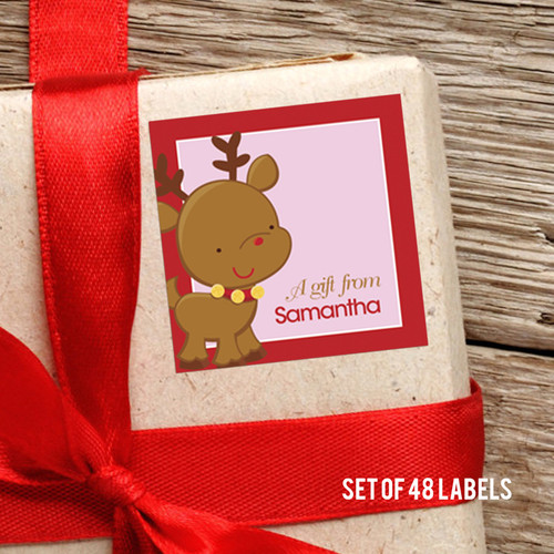 Sweet Baby Pink Deer Gift Label