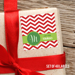 Red Xmas Chevron Gift Label