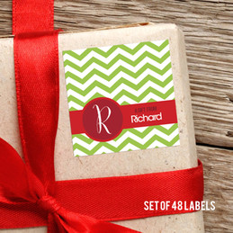 Green Xmas Chevron Gift Label