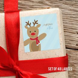 Sweet Raindeer On Blue Gift Label